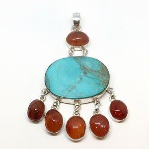 Jewelry - Sterling Silver Turquoise & Carnelian Pendant